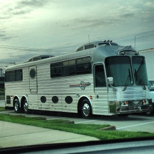 Neil Young's tour bus, parked outside Jack White's studio