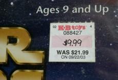 $9.99 at KB Toys.