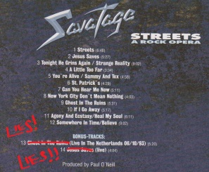 Review Savatage Streets A Rock Opera 1990 2002