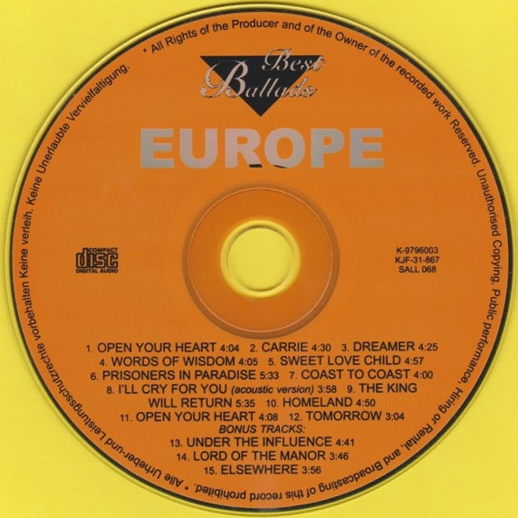 REVIEW:  Europe – Best Ballads (unauthorized Russianrelease)